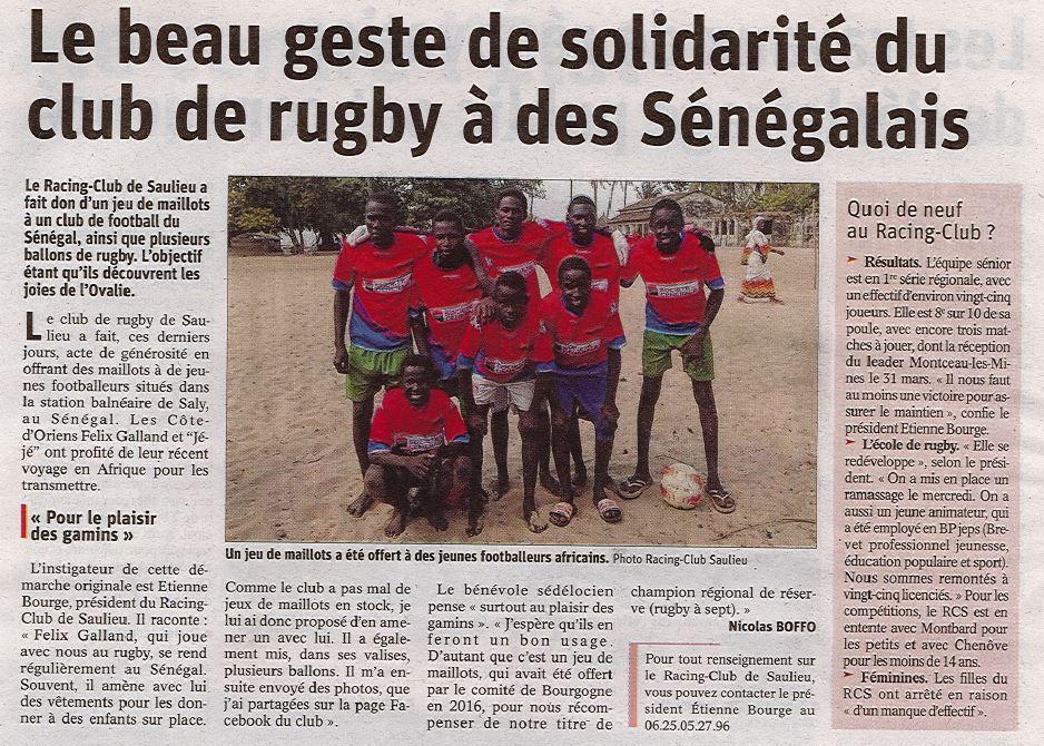 Beau Geste de solidarité du RC SAULIEU