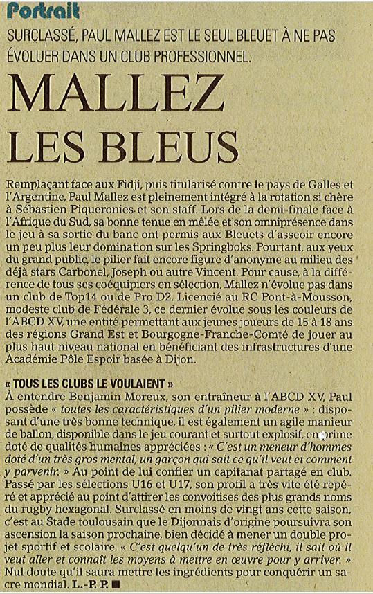 ARTICLE MIDI OLYMPIQUE PAUL MALLEZ 21.06.19